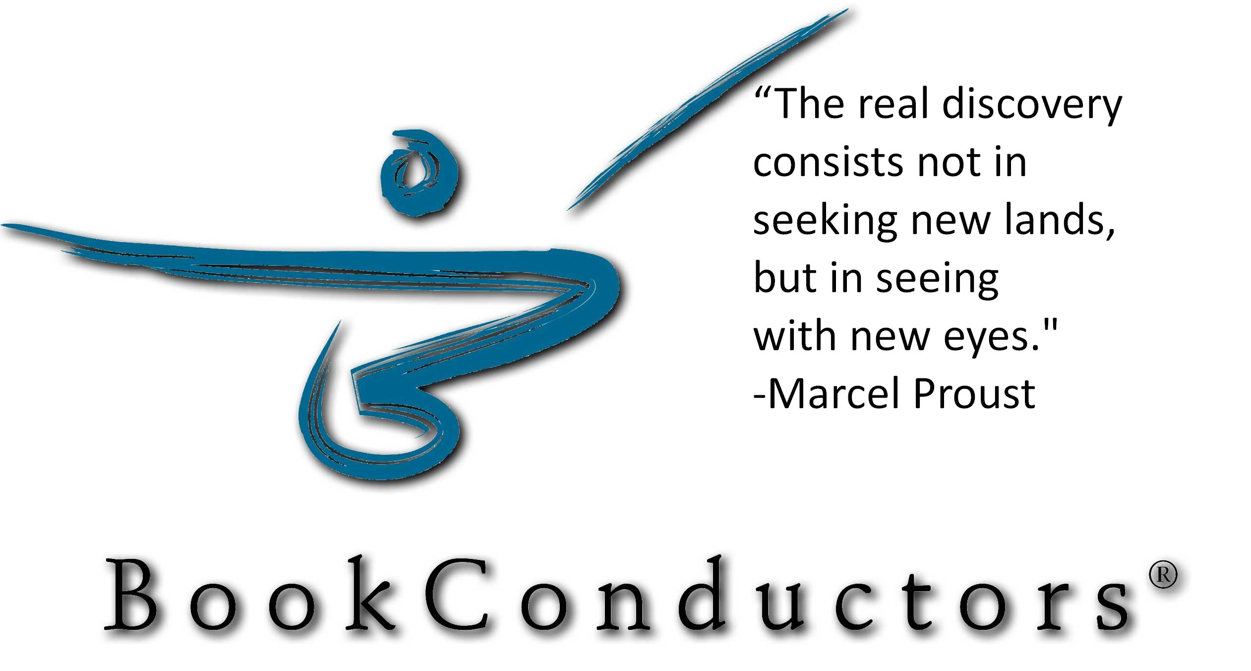 BookConductors logo with telling quote from another.
